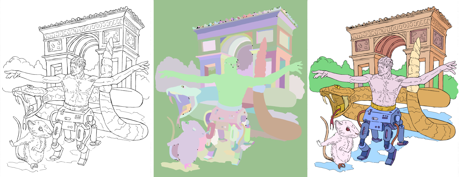 Example: creating color flats for an illustration.