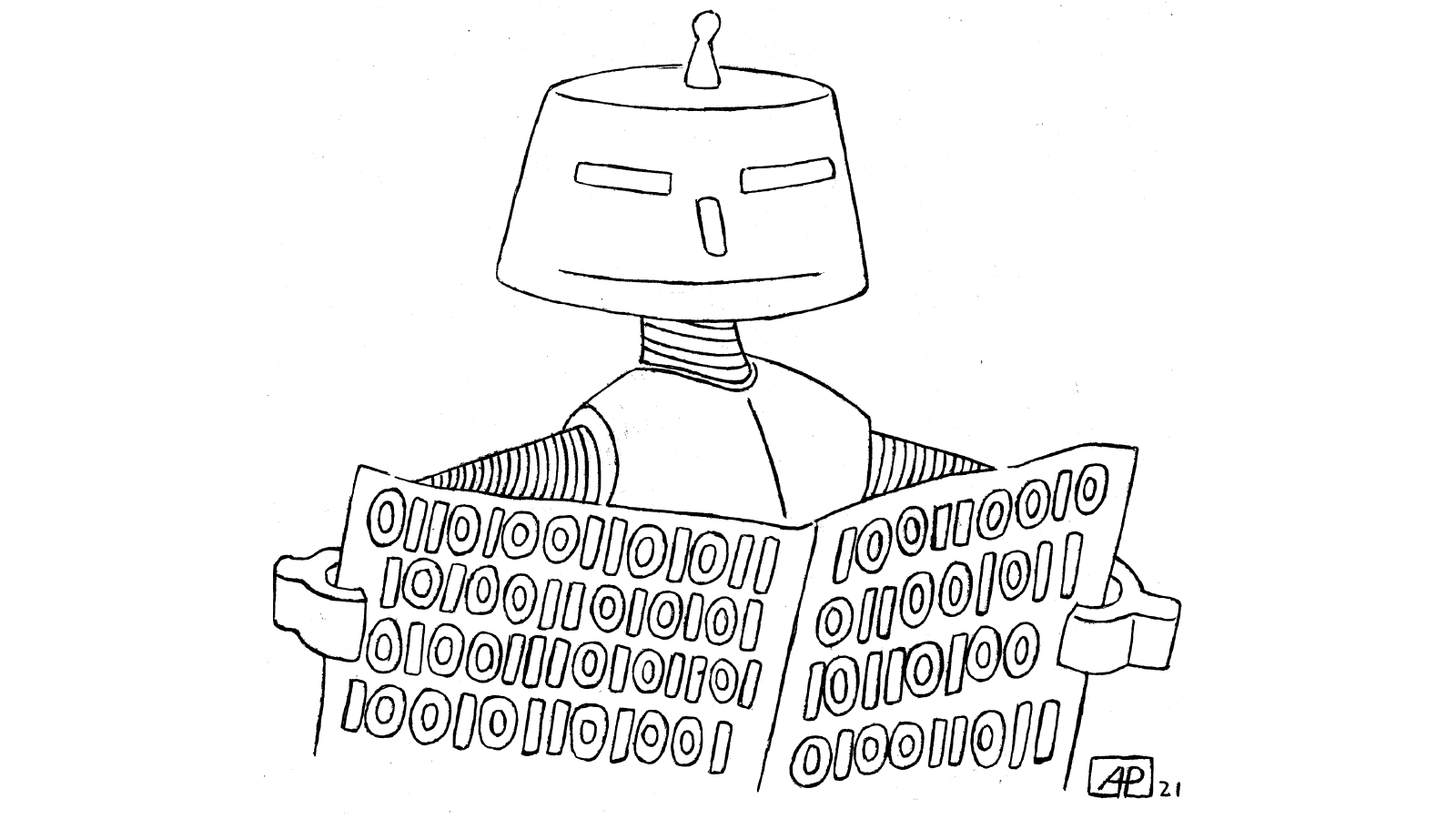Cartoon with robot reading the newspaper.