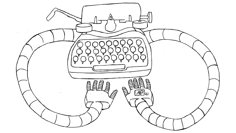 Cartoon with the worlds first typewriter with built-in artificial intelligence with robot arms that can type.