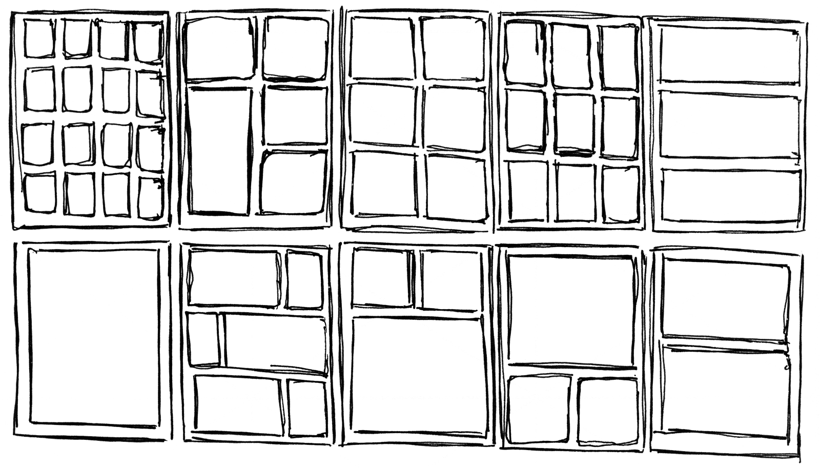Examples of panels organized in, and aligned to, regular grids