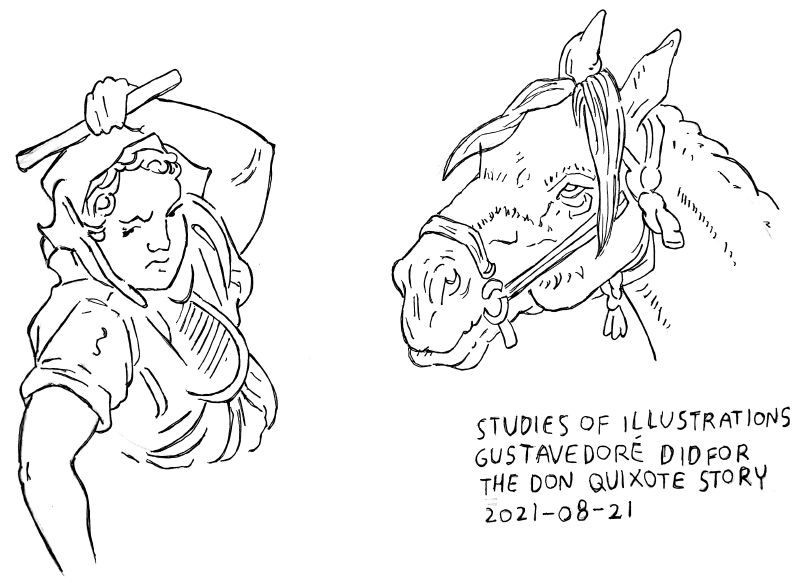 studies after illustrations gustave dore did for don quixote