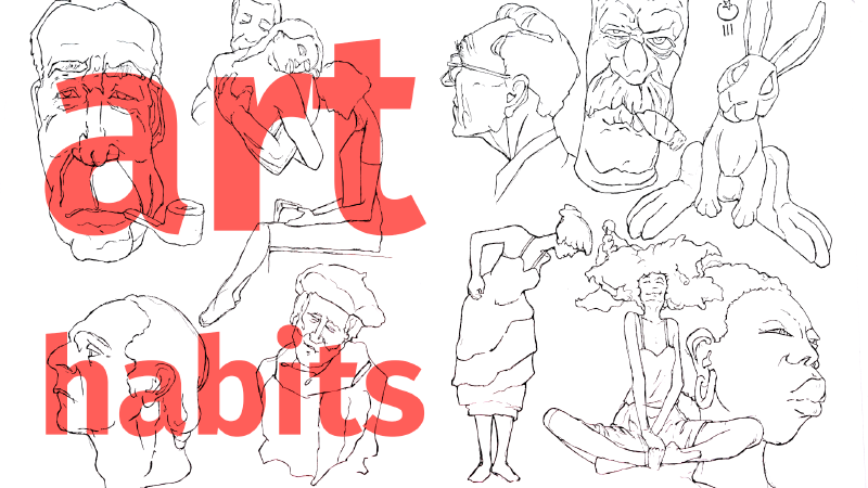 Slide image for the YouTube—Sketchbook Pen Ink Drawing Habits | Morning Pages and Pomodoro for Artists