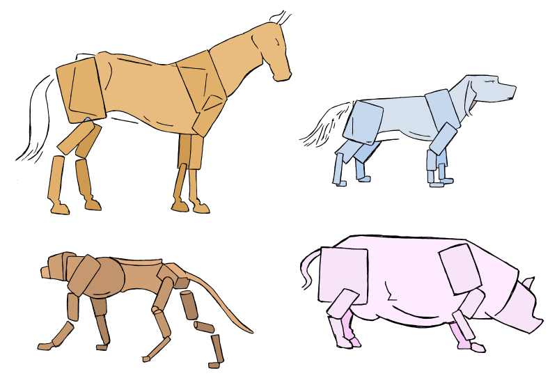 The different four-legged animals just have different proportions. You can design a simplified model built from boxes and cylinders for each.
