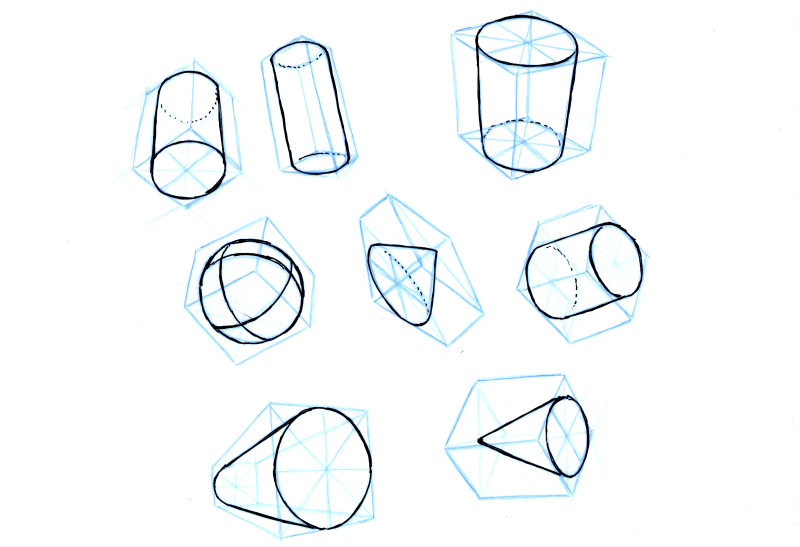 Put primitive forms - like spheres, cylinders and cones - in these boxes.