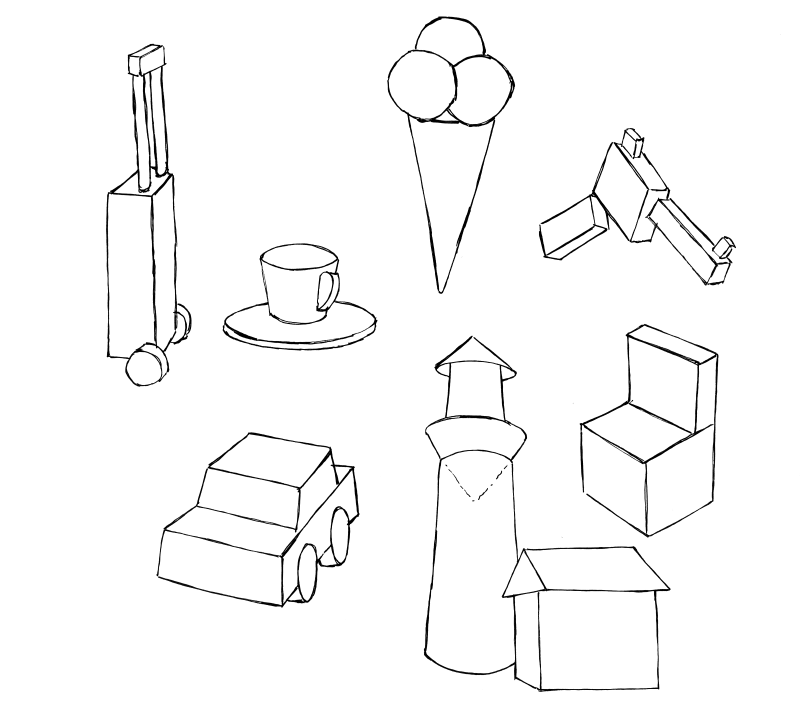 Look around to see how things can be constructed from these basic forms.