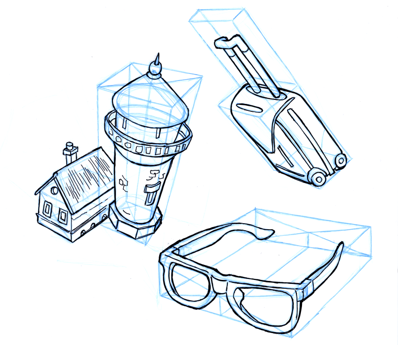Look at objects or photo reference, and try to draw that from a different angle by first drawing a box and then placing that object in it.