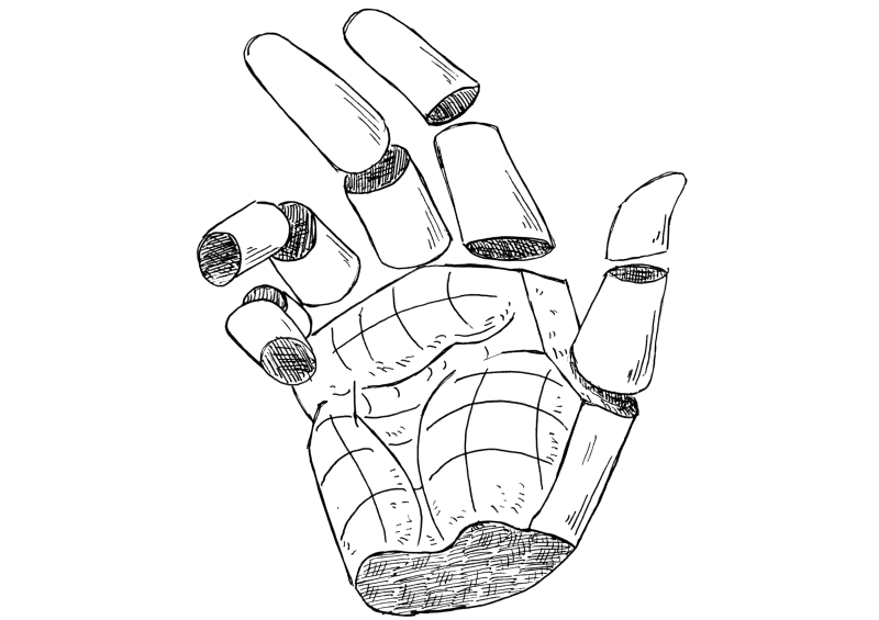Simplified model of the hands.