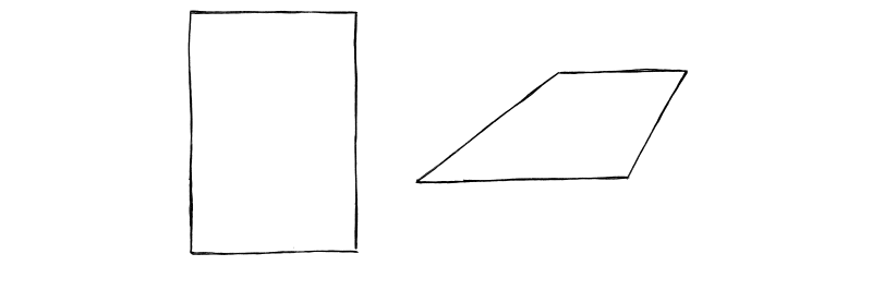 Start with a sheet of paper, and draw it in perspective.