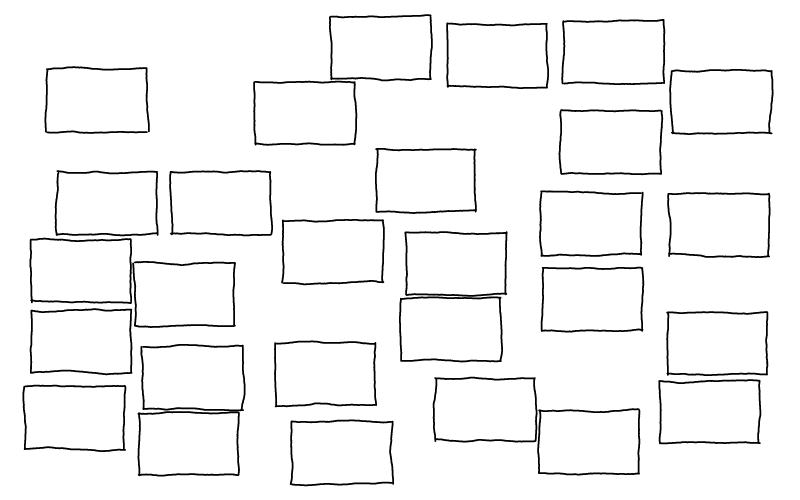 Draw a grid of rectangles, each around one inch in size.