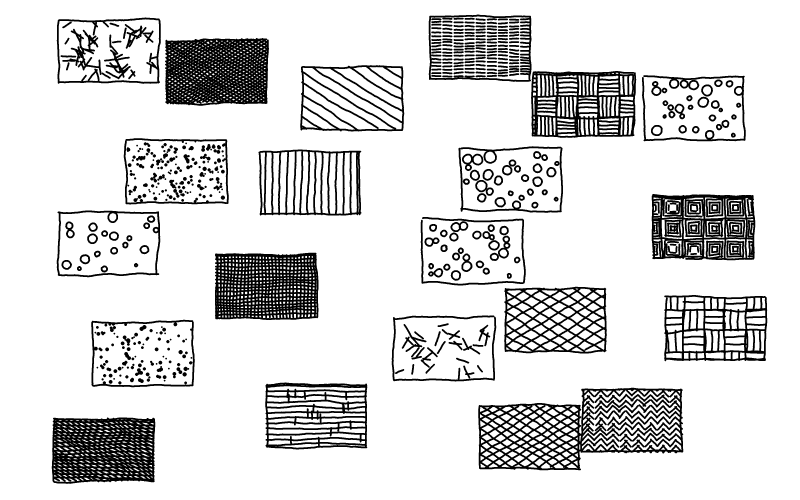 Use a pen to create various textures, one in each rectangle.